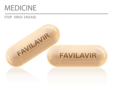 Favilavir Medicine capsule Design Antiviral drug or Avigan to treat virus include Covid-19 approved by China can use for anti Coronavirus Vector illustration