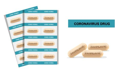 Medicine Capsule with text Favilavir is name of drug for antiviral or Avigan to treat virus include Covid-19 approved by China can use for anti Coronavirus disease Vector illustration