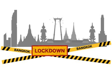 Lockdown Prevention Bangkok city from Covid-19 or Coronavirus disease pandemic vector 일러스트