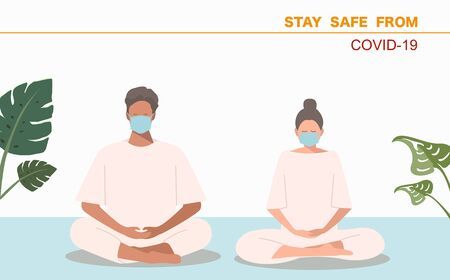 Male and Female wearing surgical face mask and meditate calm the mind pray for covid Disappear from this world vector 일러스트