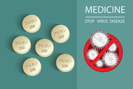 Medicine tablet with text has meaning Faripiravir medicine or Avigan to treat virus include Covid-19 approved by China can use for anti Coronavirus Vector illustration