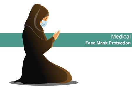 Muslim woman wearing black chador dress traditional with hijab and rosary, raising hand to praying and Wearing medical face mask protection COVID-19 or Coronavirus outbreak concept Vector Illustration 일러스트