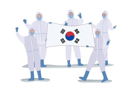 Scientists in protection cloth carrying the Korea flag rejoice because they succeeded in Invented methods of treatment Covid-19 or Coronavirus disease