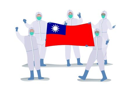 Scientists in protection cloth carrying the Flag of the Republic of China or  flag of Taiwan rejoice because they succeeded in Invented methods of treatment Covid-19 or Coronavirus disease