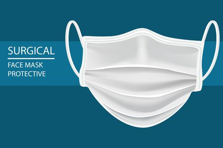 vector Realistic white Protective Medical face mask Front side isolate vector