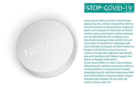 White Favilavir pill generic name of pill or Avigan drug for anti-virus and Covid-19 or Coranavirus flu Stop Covid disease concept vector 일러스트
