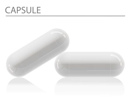 Realistic White Capsules Isolate with shadow is on white background Vector illustration