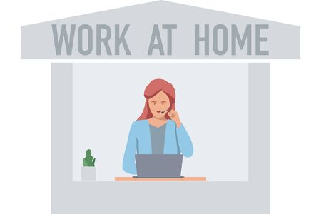 Woman using head phone and laptop with Work at home concept vector