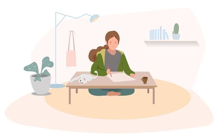 Work From Home of woman writer stay alone with cat vector