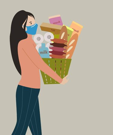 Young woman shopper wearing face mask and holding a basket full of goods Stock up food in worst case of coronavirus pandemic vector concept
