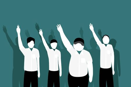 Youth mens of Students lift their arms up to three fingers Is an anti-fraud symbol Youth activism vector illustration concept 일러스트
