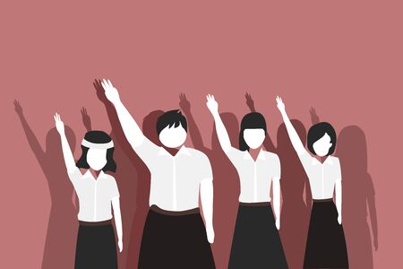 Youth woman Students lift their arms up to three fingers Is an anti-fraud symbol Youth activism vector illustration concept 일러스트