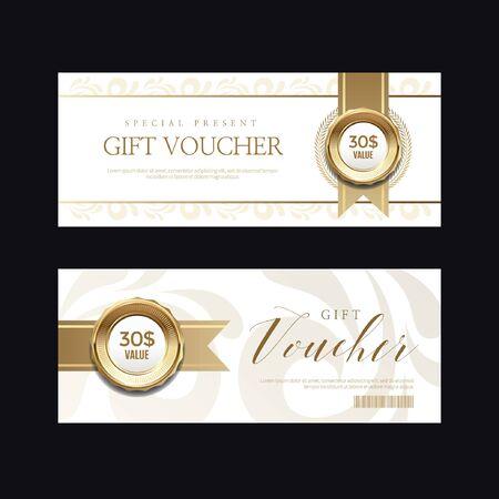 Invitaciones vip de lujo y fondos de cupones Ilustración de vector