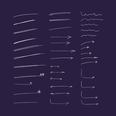 set of hand drawn colorful arrows and lines. vector highlighter elements