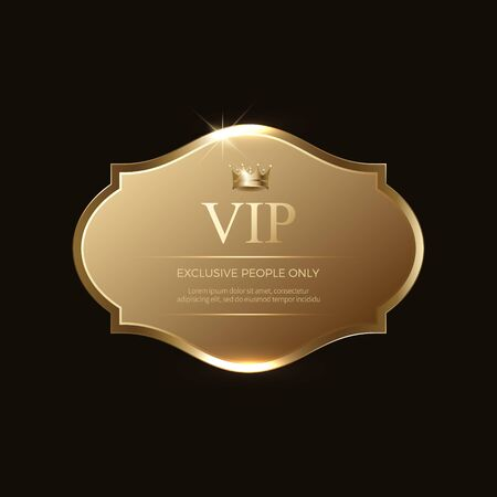 Badge ou étiquettes VIP. Couleur dorée. Conception élégante