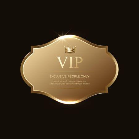 VIP-Abzeichen oder Etiketten. Goldene Farbe. Elegantes Design