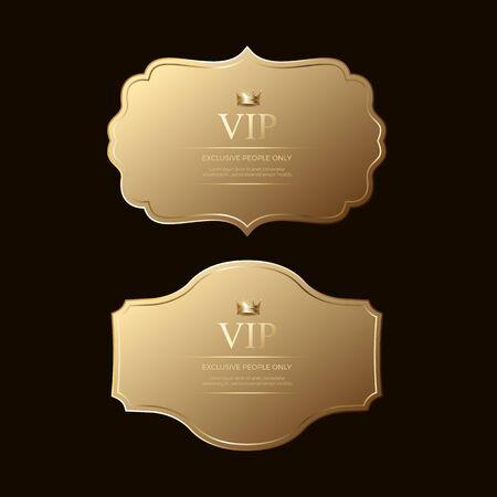 modèle de badges dorés, badges et étiquettes dorés premium de luxe Vecteur Premium