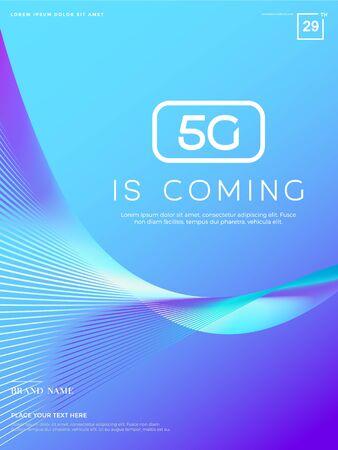 Fortschrittlicher Technologiehintergrund, abstrakte 5G-Konzeptillustration, große Daten Vektorgrafik