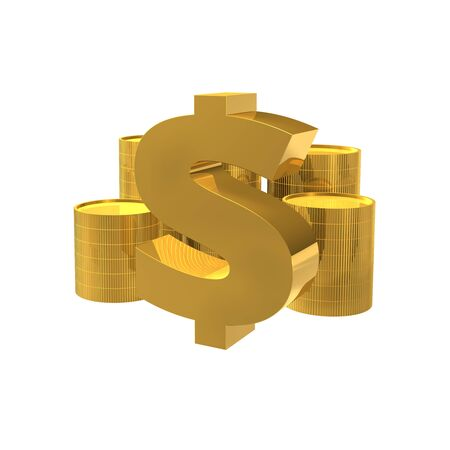 Simple financial related icons, 3d object coins Imagens