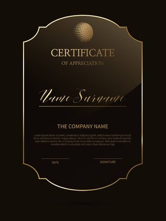 Certificate frame background with glass material