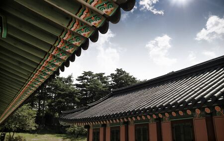 korean traditional architectural building Stok Fotoğraf
