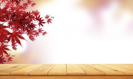 wooden table top with the nature landscape, spring autumn leafs as frame and free space for text