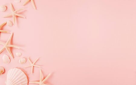 Summer concept with seashells on pink background.