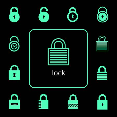 A variety of lock icons
