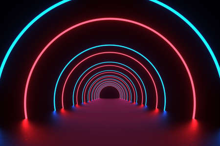3D Rendering Illustration. Futuristic Sci Fi Dark Empty Room With Neon Glowing. 3D abstract background with neon lights.