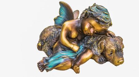 baby gesicht: Isolierte B�ste schlafender Engel mit Baby-Gesicht