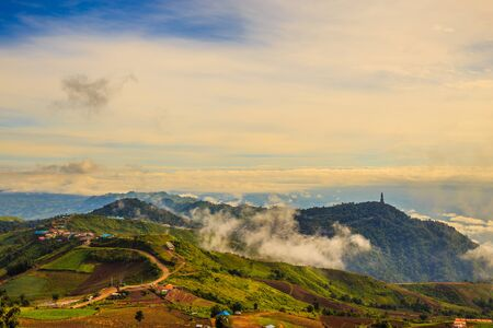 cutback: communities  mountains under mist in the morning in  Phetchabun Thailand Stock Photo