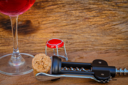 concep: Bottle of red wine and corks. Wine list concep