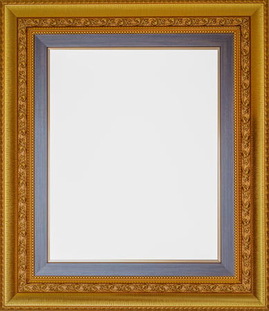 gold color: Antique look gold color picture frame isolated on white.