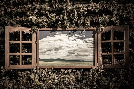 open window: Open window from old room with landscape on a background