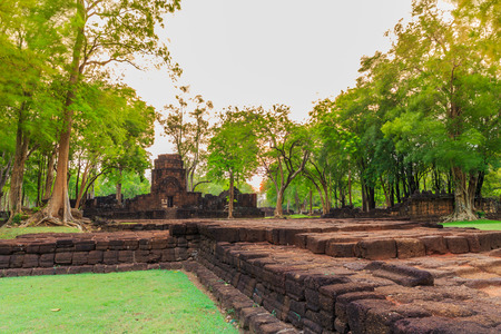 Remains of a building at the Prasat Muang Sing Historical Park in Khmer style Stock Photo
