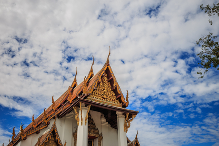 Thai temple ceramic roof with Thai style building eaves and tympanum Ayutaya Thailand Stock Photo