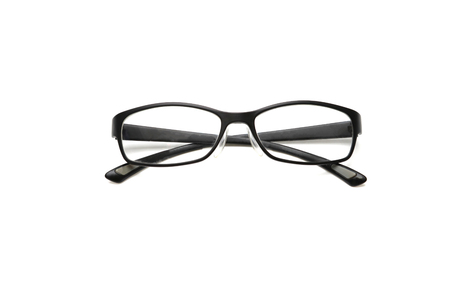 Photo of black glasses isolated on white