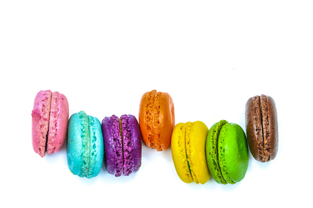 macaroons on white background, isolate , top view Imagens