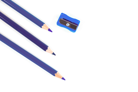 Pencil and blue pencil on white background. It is white foam.