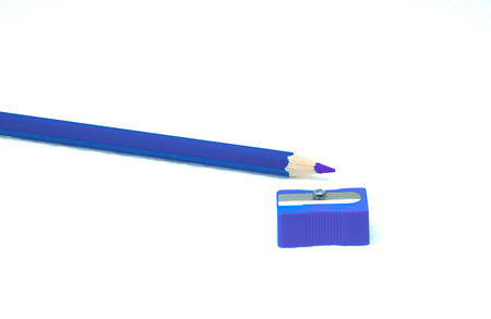 A Blue pencil and blue pencil on white background It is white foam.