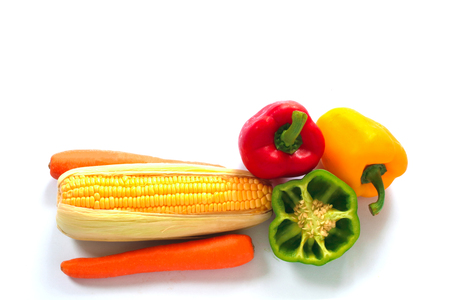 Corn, carrots and sweet peppers.