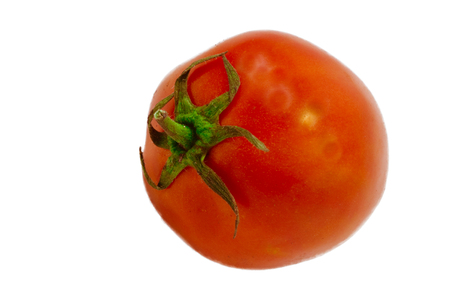 Fresh red tomato are placed on a white background.