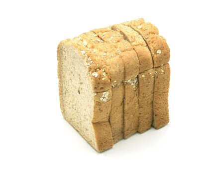 Whole wheat grain bread Stacked on white background, isolated, top view