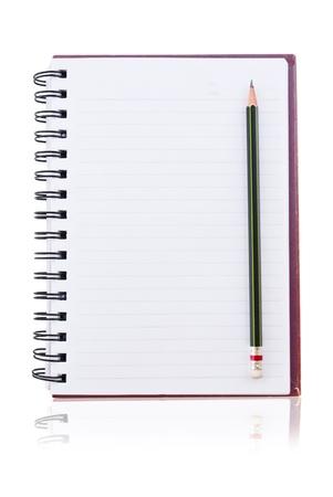 raton: libro blanco de port�til con l�piz. Foto de archivo
