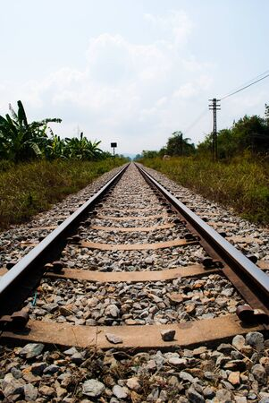 rail travel: Railway to success. Stock Photo