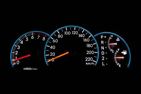 Speedometer on the black. photo