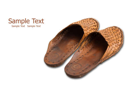 Cow skin shoes isolate on the white. Stock Photo - 8912262