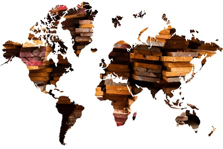 World map background with wood texture. photo