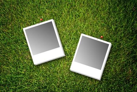 Polaroid on the grass texture. photo