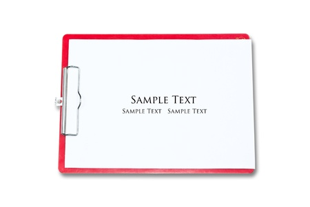 White paper on the red board isolate on the white. Stock Photo - 9132619